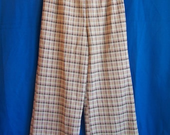 """Pale pink polyester plaid pants, size Small, 24"""" elastic waist, c. 1970s"""