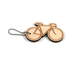 Old School Bike Bicycle Engraved Wooden Keychain