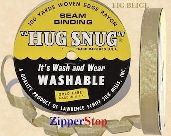 "FIG BEIGE - Hug Snug Seam Binding Ribbon- 100 yard roll 1/2"" Wide - 100% Woven-Edge Rayon"