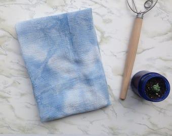 Blue and white tea towel, hand dyed cotton kitchen towel, flour sack dish towel, indigo, shibori