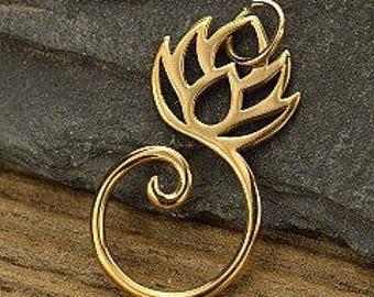 bronze lotus charm holder, bronze charm holder, golden bronze charm holder, lotus necklace, lotus charm holder