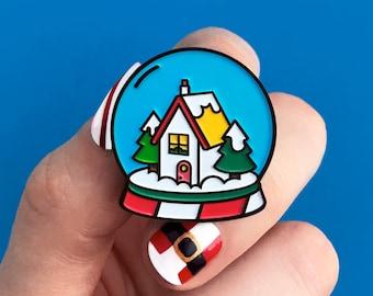Snow globe blue, enamel pin