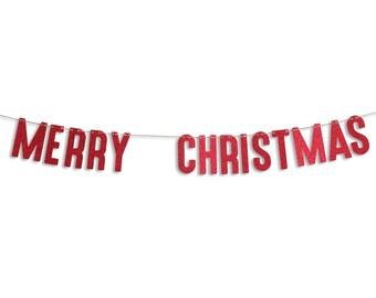 MERRY CHRISTMAS Garland, Merry Christmas Banner, Holiday Banner, Christmas decoration, Christmas Glitter Garland