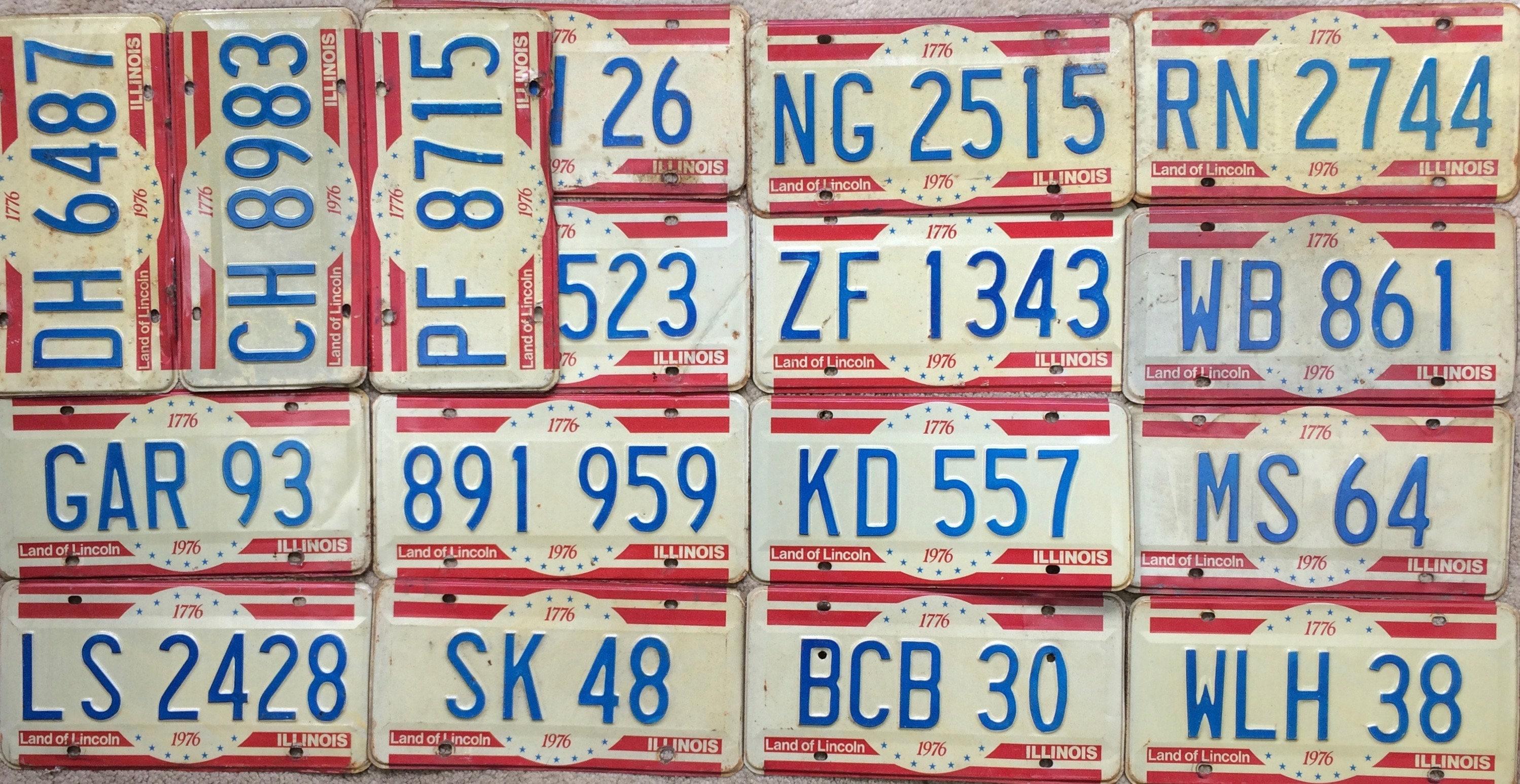 Old License Plates American Flag Craft Kit Vintage Illinois 1976 Car ...