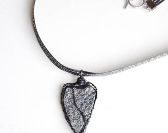 Black and Silver Colour Textured Heart Pendant Necklace, Industrial Chic Man Made Material Natural Heart Shape Found Beach Object Jewelry