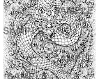"""Digital download-Printable PDF-Coloring Page-Adult Coloring-Printable Wall Art-Art print-Hand-Drawn """"The Legendary Dragon."""""""