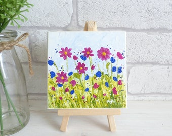 Mini Art and Easel, Original Acrylic Texured Pink and Blue Flowers, Painting