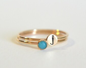 Set of Two Gold Filled Rings, Gold Amazonite Ring, Personalized Ring, Stacking Ring, Initial Ring, Dainty Ring, Stackable Ring