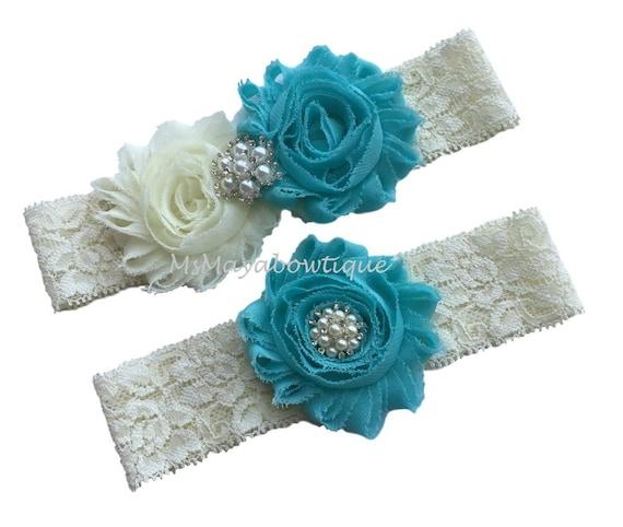 Plus Size Wedding Garters: Aqua Garter Plus Size Garter Set Wedding Garter Plus Size