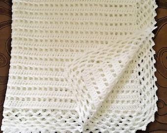 Handmade white christening baptism baby blanket