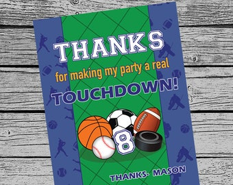 SPORTS Birthday party thank you card, printable invitation customized