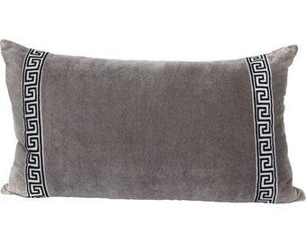 Grey velvet lumbar pillow cover with Greek key trim  ,decorative cushion cover,all size