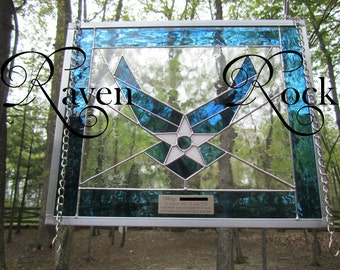 Air Force - Military- Stained Glass- Personalized- Retirement or Promotion Gift - Engraving Included