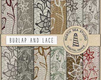 Burlap Lace Digital Paper, Burlap Textures, Lace Background, Rustic Floral, Wedding Burlap, Coupon Code: BUY7FOR10