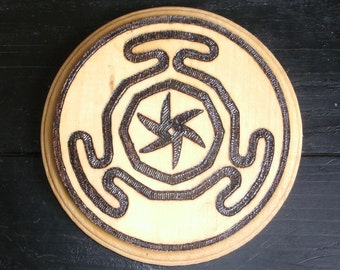 Hecate's Wheel Plaque (Pyrography) You Pick the Color, Free US Shipping