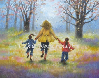 Mother Two Daughters Art Print, two daughters, two girls, mom, painting, motherhood, two sisters art, mother's day gift art, Vickie Wade art
