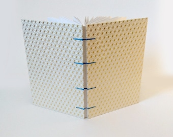 White and Gold Geometric Snowflakes Coptic A5 Sketchbook