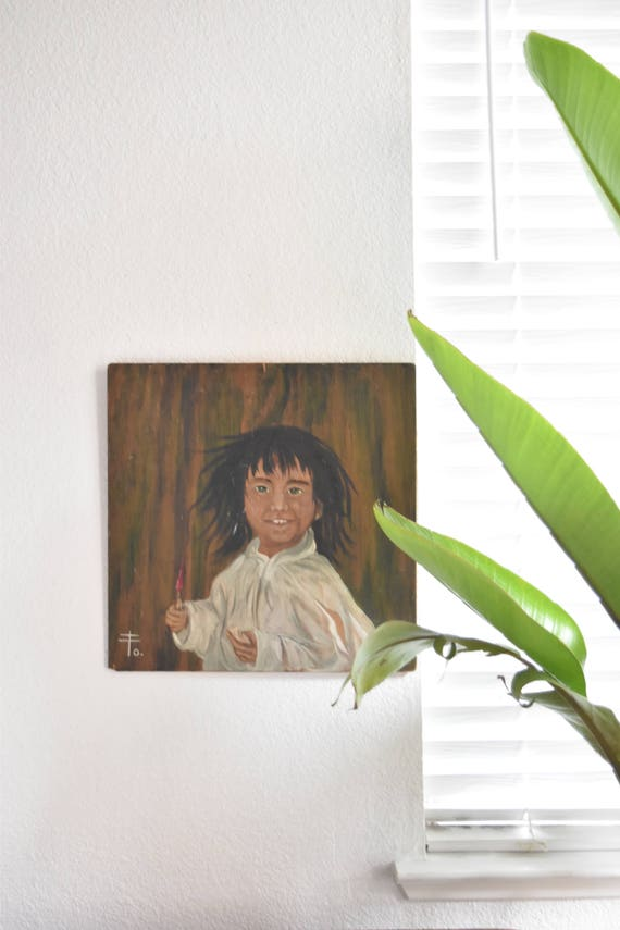vintage original painting of a young asian boy portrait / japanese
