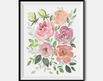 WATERCOLOR FLORAL PRINT, Cute Flowers Wall Art, Flower Wall Art, Botanical  Art,
