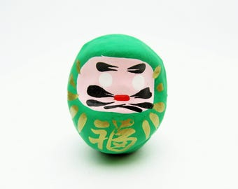 Lucky Daruma(Green).Paper mashe.Small daruma doll.46mm.Hariko.#dr58.msjapan.Folk toy.Recommended for gifts.