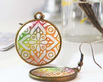 Wearable art, Moroccan Tile earrings, Bohemian earrings, Ethnic earrings, Boho jewelry, Abstract geometric earrings, Personalized, 5118-10
