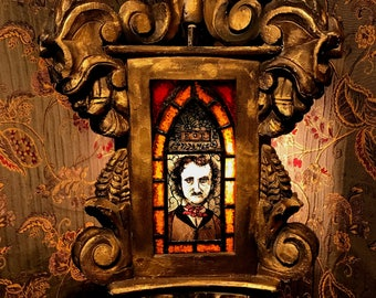 Edgar Allan Poe - Gothic Hanging Pendant Lamp with Painted Stained Glass Panels - Raven & Dore Angel