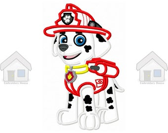 "Red Military Puppy Applique Design 3 sizes ""Instant download"""