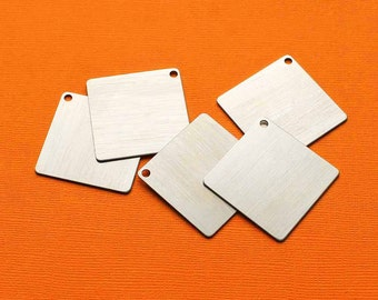 """5 Aluminum Stamping Tags Clear Brushed Aluminum 1.5"""" Squares - MT386"""