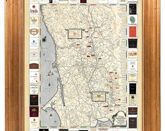 Sonoma Winery Map - Antique Style Cartography