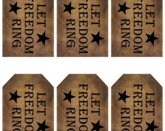 grungy tag set, primitive tags, craft supplies, scrapbooking - Let Freedom Ring with stars - digital PDF & jpeg - LFRGT02