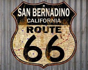 San Bernadino, California Route 66 Vintage Look Rustic 12X12 Metal Shield Sign S122076