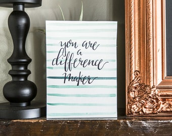 Difference Maker- Stripes, You are a difference Maker, Striped watercolor print, teal print, watercolor, Watercolor painting