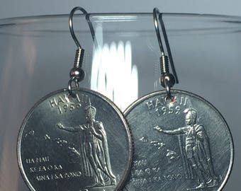 2008 Hawaii Quarter Earrings Free Gift Bag 10 Year Anniversary 10th Birthday Birthplace Birth State