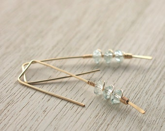 Aquamarine Gold Twigs Earrings . Aquamarine Goldfilled Modern Geometric Earrings