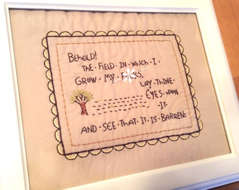 MADE TO ORDER Framed Behold the Field Embroidery
