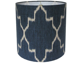 Custom Lamp Shade - Ikat Lampshade - Fabric Lamp Shades - Navy Blue Lampshades - Monaco by Lacefield Designs in Sapphire - Tribal Lampshades