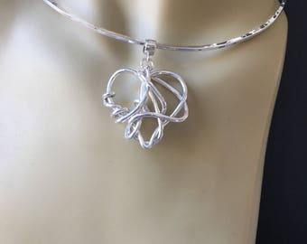 You've Got Me Wrapped - 999 Pure Fine Sterling Silver Hand created  Heart - One of a Kind -  Heart pendant with Argentium neck wire.