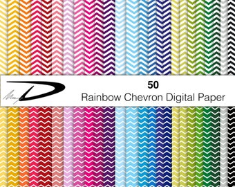50 Chevron rainbow shades paper pack - backgrounds  chevron - chevron wallpaper - chevron scrapbook - chevrons digital paper