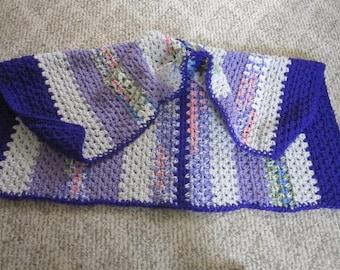 "Handmade Crochet ""Comfort Shawl"",Grey,purple and vericated, 38"" x 28"""