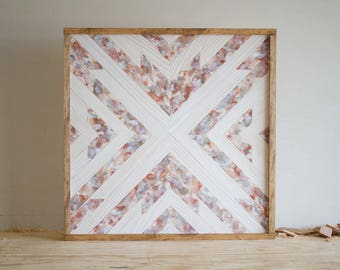 "Wood Wall Hanging - 24"" x 24"" x 1.5"" - Neutral Palette"