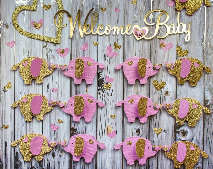 Featured listing image: Pink and Gold Baby Shower Elephant Table Decor - Elephant Baby Shower -  Elephant Confetti - Paper Elephant - Elephant Shower