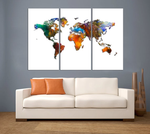 World map multi color paint 3 panel split canvas like this item gumiabroncs Images