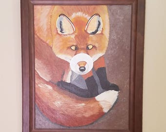 Whimsical fox art, Fox with a donut, Fun woodland art, Siily fox painting, Wall decor, Red fox art, Curious fox,Donut art, Comical fox art