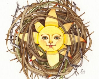 yellow sun nest OOAK watercolor painting