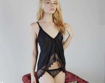 sheer silk camisole in cropped length with lace trim and open back - BROOK silk chiffon bridal lingerie range - made to order