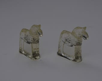 Two Lindshammar Swedish Glass Dale Horse  Paperweights