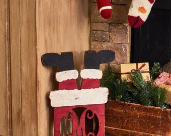 Santa* Chimney* Monogram* Christmas* Holiday* Gift* DIY* Decor*personalize* craft* initial* unfinished*