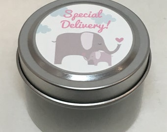 Elephant Mama and Baby,  Baby Shower Favor, Sweet Baby Girl, Custom, 2 ounce Metal Tin