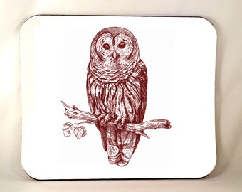 Owl Mouse Pad, Owl MousePad, Forest Animal, Owl Gift, Office, Sublimated, Woodland Critter, Thick 1/4 Inch