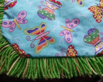 Catnip Crinkle Mat Handmade used as Pillow Toy Bed-Colorful Butterflies print w Lime Green Fringe and Accents for cats and ferrets Recycled